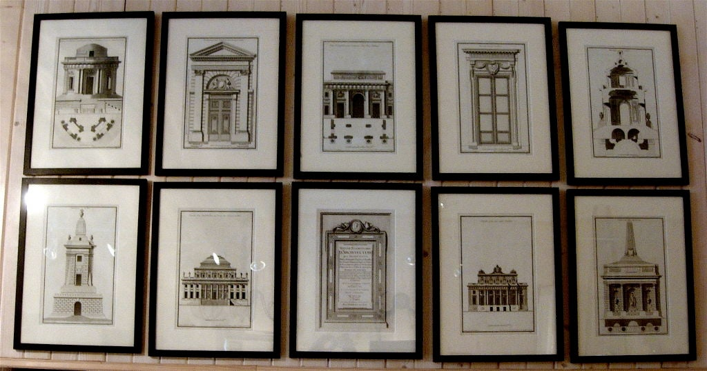 Extensive collection of 18th century architectural engravings, framedin ebonized wood frames, priced per engraving, 40 available. Have both verticals and horizontals so request which and how many you are looking for.  Thomas Jolly.