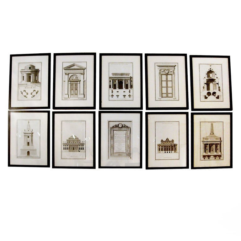 Extensive Collection of 18th Century Architectural Engravings, Priced Per Piece. For Sale