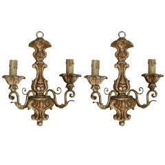 Pair of Italian Giltwood Two-Arm Sconces