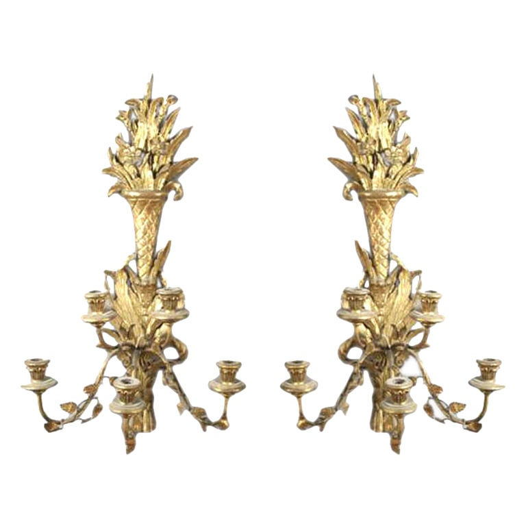 Pair of Italian Giltwood Carved Three-Arm Sconces For Sale