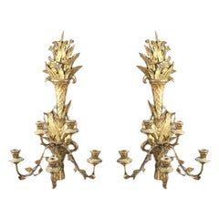 Pair of Italian Giltwood Carved Three-Arm Sconces