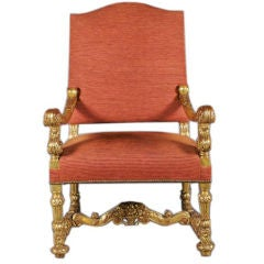 Monumental 19th Century Baroque Style Giltwood Armchair