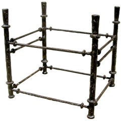Alberto Giacometti Style Metal and Glass Side Table