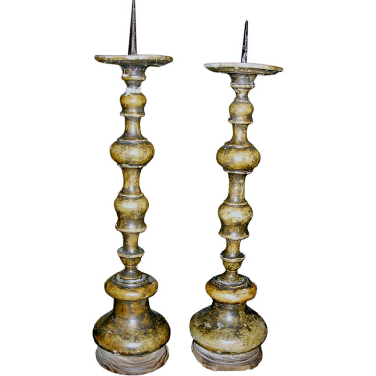 One Pair of Italian Carved Wood Prickets with Pantina For Sale