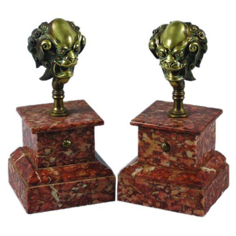 One Pair of 18th Century Bronze Mounts on Rouge Marble Bases
