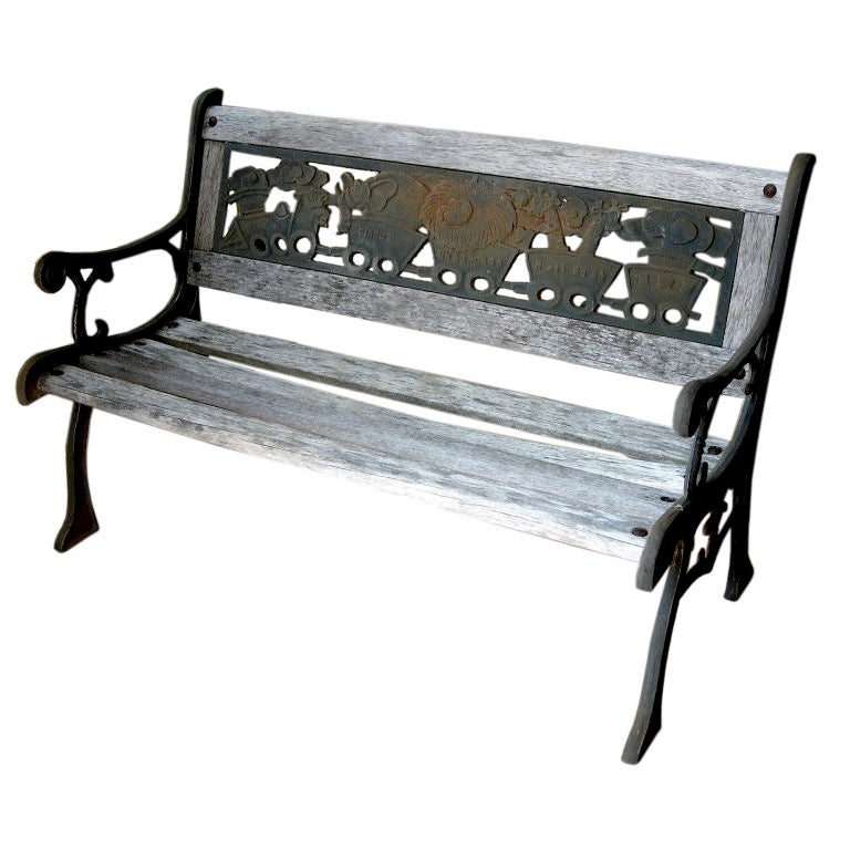 Charming wood and iron childs garden bench of diminutive - Wood and iron garden bench ...