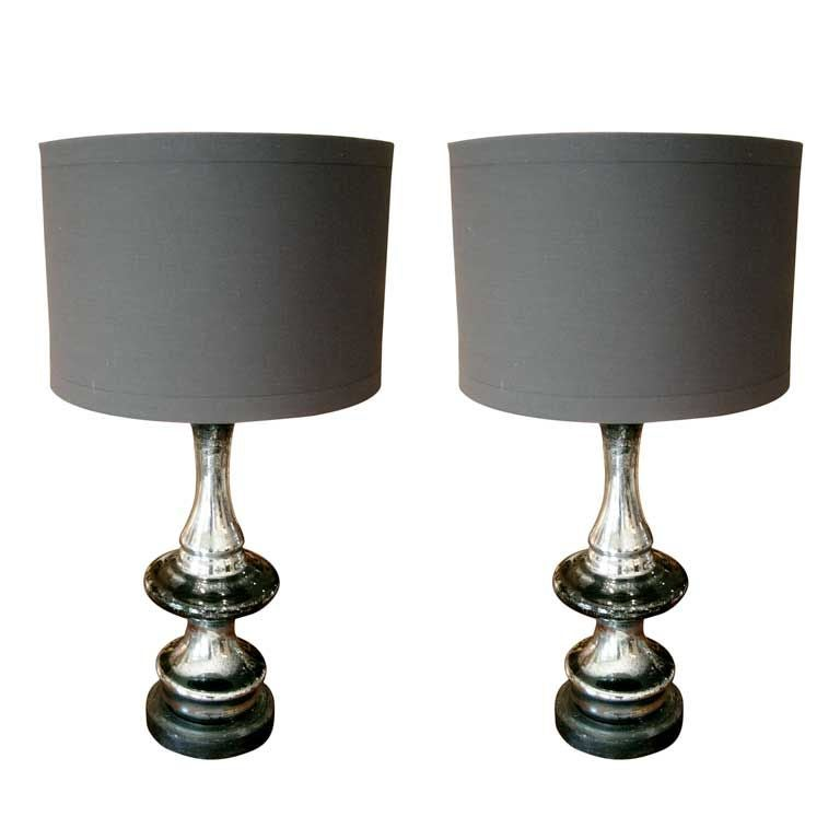 One Pair Of Mercury Glass Lamps At 1stdibs