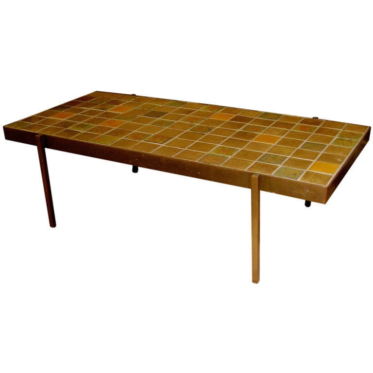 midcentury bronze and tile coffee table for sale at 1stdibs