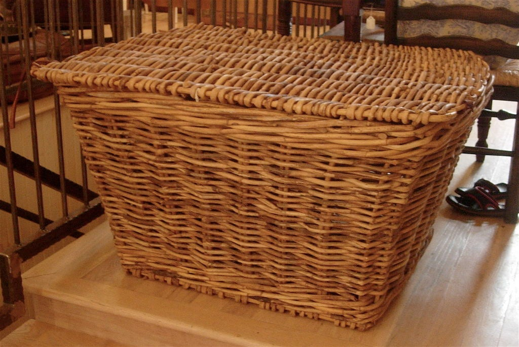 19th century monumental English harvest basket, great at the foot of a bed or amazing coffee table.