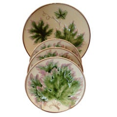 Set Of Four Majelica Plates With Leaf Decoration
