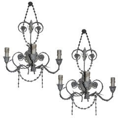 One Pair of French Tole Three-Light  Wall Sconces
