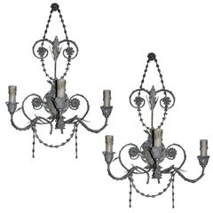 Ten French Tole Three-Light  Wall Sconces With Silver Leaf Finish, Newly Wired.