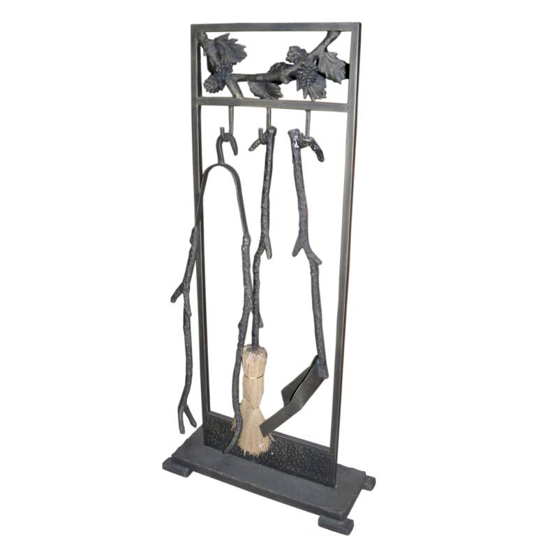 arts and crafts style iron fireplace tool set at 1stdibs