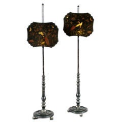 One Pair of Lacquered Pole Fire Screens