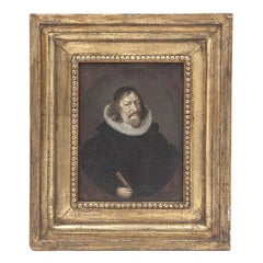 Diminutive Dutch Portrait In Gilt Wood Frame