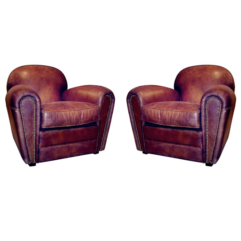 One Pair Of English Deco Style Distressed Leather Club