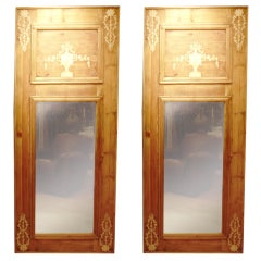 One Pair Of Pine Mirrors With Applied Decoration