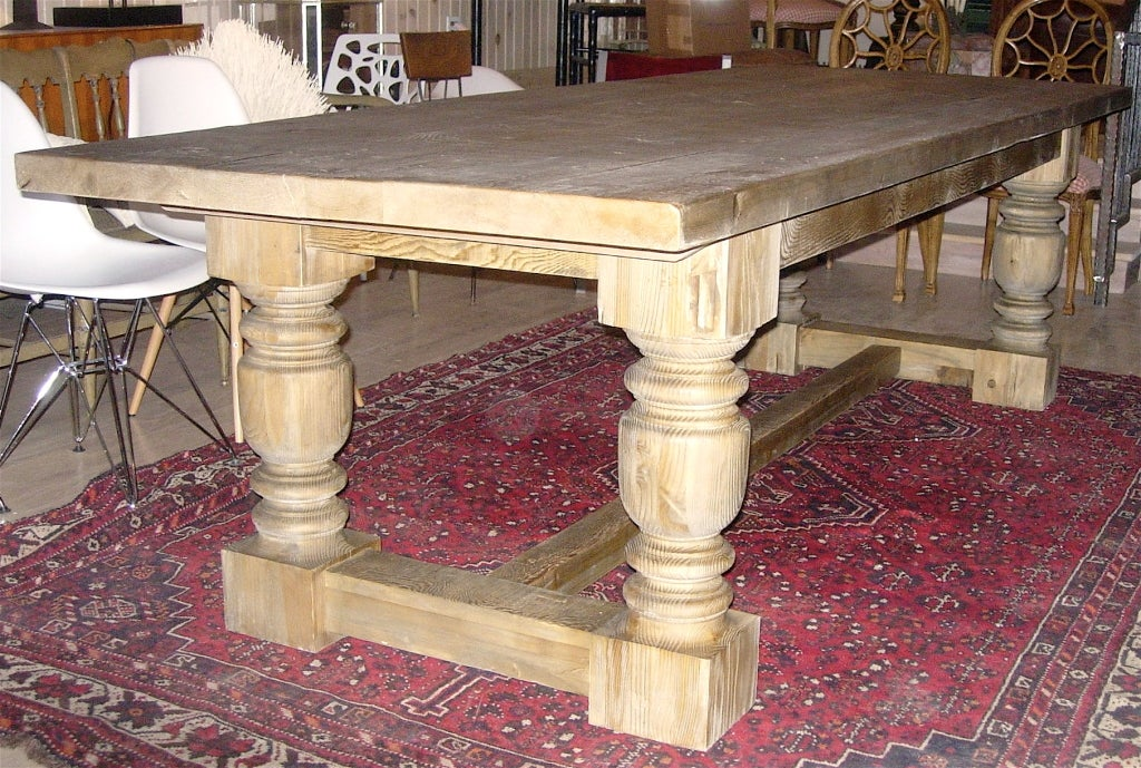 Monumental Harvest Table With Plank Top. 2
