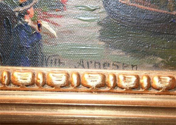 Oil on canvas, Procesion for Bjornstjerne. Wilhem Karl Arnesen British battle ships.