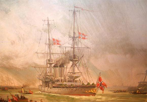 English Oil on Canvas, Wilhem Karl Arnesen British Battle Ships For Sale