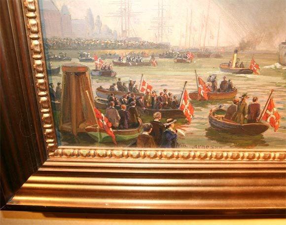 Oil on Canvas, Wilhem Karl Arnesen British Battle Ships In Excellent Condition For Sale In Buchanan, MI