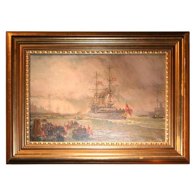 Oil on Canvas, Wilhem Karl Arnesen British Battle Ships For Sale