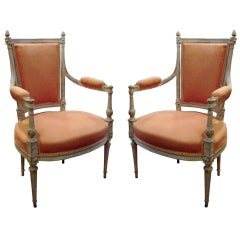One Pair of 19th Century Louis XV Style Painted Fauteuils