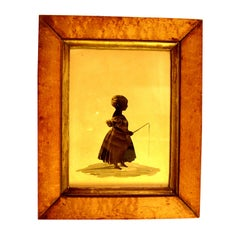 19th Century American Silhouette of Young Girl Fishing