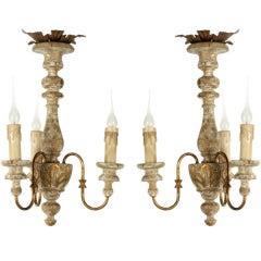 Pair of Italian Style Three-Arm Chandeliers