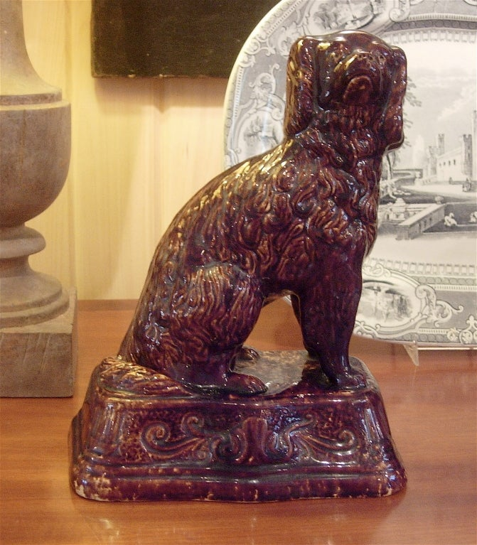 19th century Bennington spaniel sculpture of large-scale, very handsome and stately.