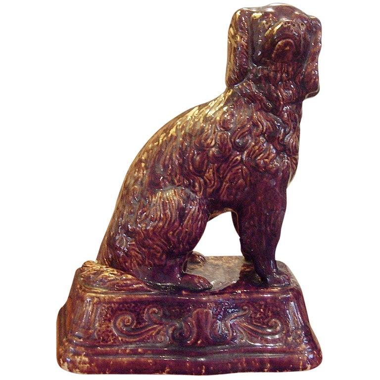 19th Century Bennington Spaniel Sculpture of Large-Scale For Sale