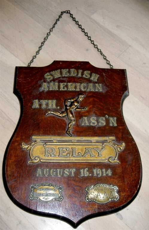 Spectacular early 20th century relay trophy plaque.