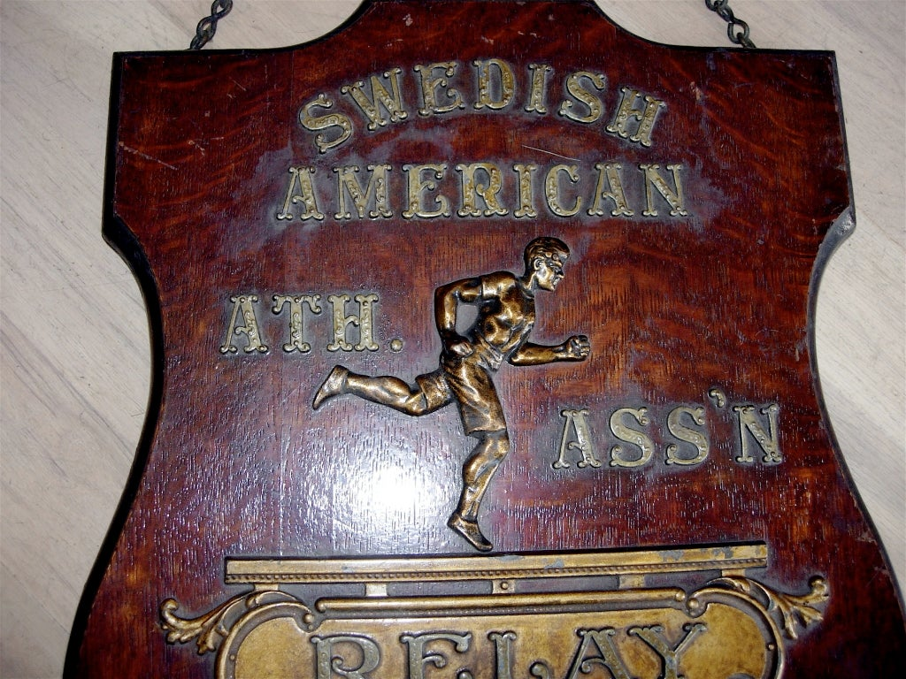 American Early 20th Century Relay Trophy Plaque For Sale