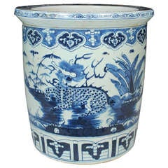 Chinese Blue and White Scroll Jar with Lions