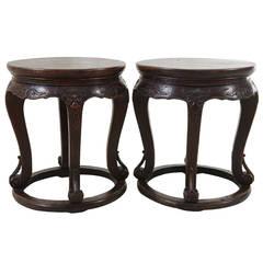 Pair of Walnut Round Plank Top Shizi Tables