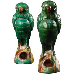 Pair of Small Parrot Incense Burners