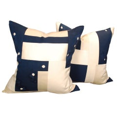 Pair of 19th Century Japanese Shibori Pillows