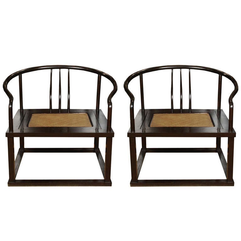 Pair of Chinese Roundback Meditation Chairs