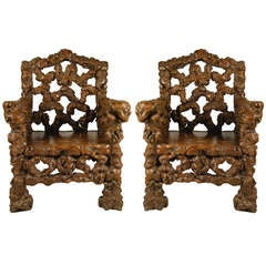 Pair of Chinese Gnarled Root Chairs