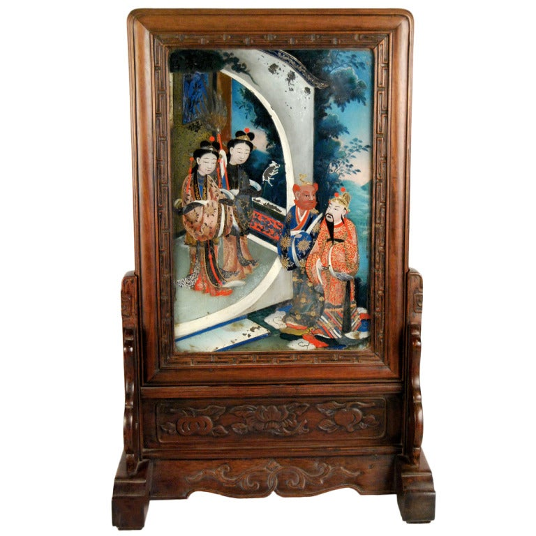 19th Century Chinese Table Screen With Reverse Glass