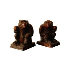 Pair of Carved Monkeys with Peaches