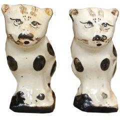 Pair of 19th Century Chinese Ceramic Cat Incense Burners