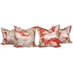 Suite of Four Vintage Japanese Wedding Kimono Pillows