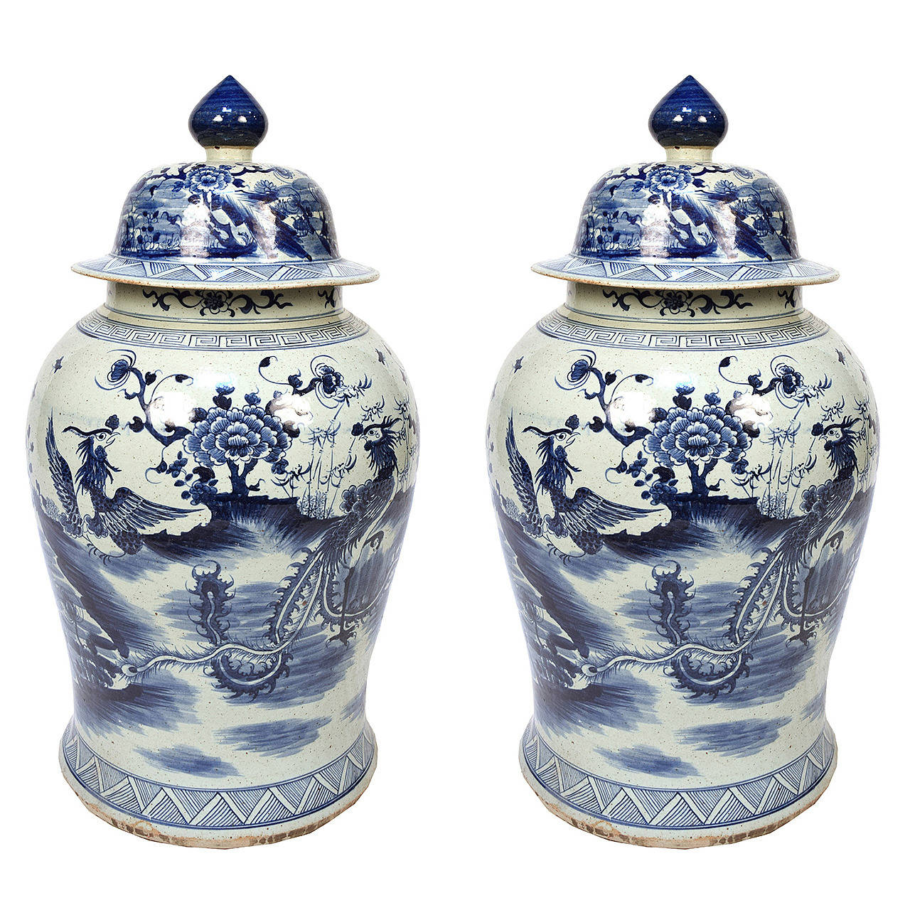 Pair Of Blue And White Ginger Jar With Phoenix Peonies For