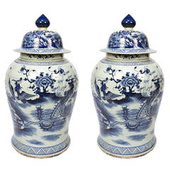 Pair of Blue and White Ginger Jar with Phoenix and Peonies
