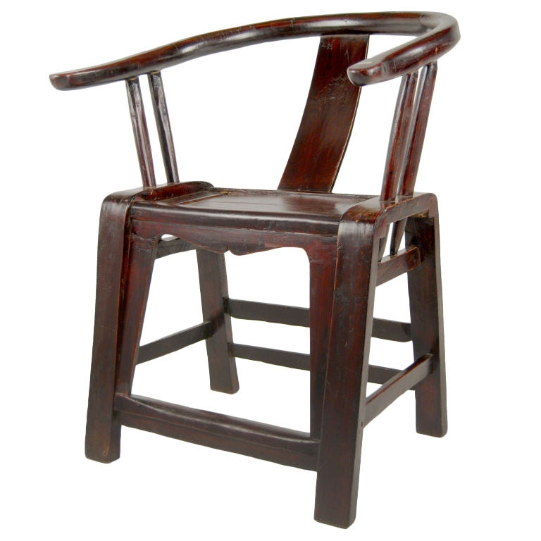 A 19th Century Provincial Chinese Elmwood Chair With Bentwood Horseshoe Shaped Crestrail And Backsplat