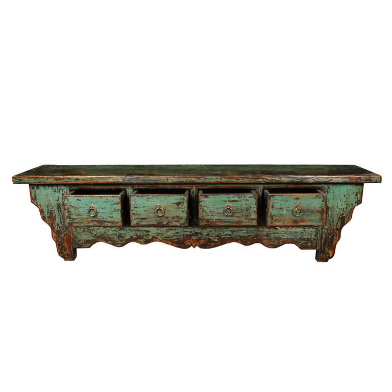 Early 20th century chinese low teal painted four drawer for Teal coffee table