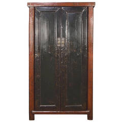 19th Century Chinese Red and Black Lacquer Cabinet