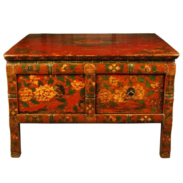 Gentil 19th Century Tibetan Table With Four Drawers For Sale