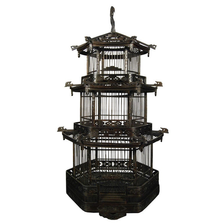Early 20th Century Chinese Pagoda Bird Cage 1